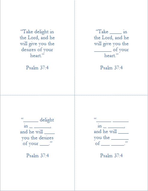 Memory Verse Help - Psalm 37:4