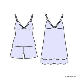 illustration of cami + shorts and chemise nightie