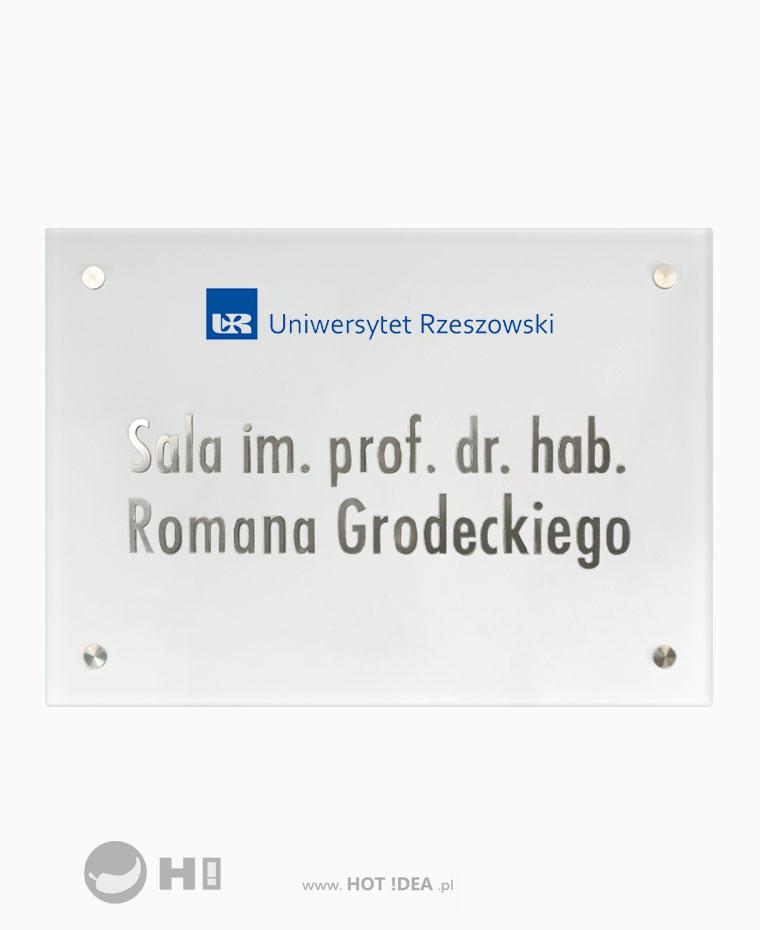 Szklana tablica informacyjna, szyld z metalowym liternictwem i grawerowanym logo