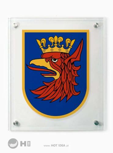 Szklana tablica z nadrukiem herbu miasta gminy powiatu - herb Szczecina
