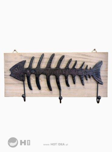 Wieszak z haczykami w kształcie ryby, rybie ości