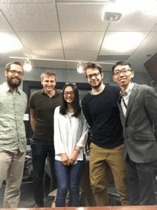 Left to right: Engineer Jason Adam Voss, Ed Waisanen, Pearl Zeng, Alex Truelove, and Joey Li.