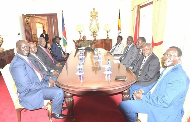 SPLM leaders in meeting with Museveni