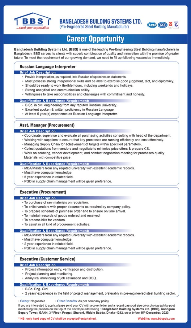 BBS Cables Job Circular Exam date admit card Apply Process