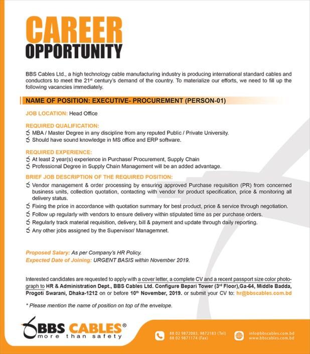 Bangladesh Building Systems Ltd. (BBS) Job Circular 2019