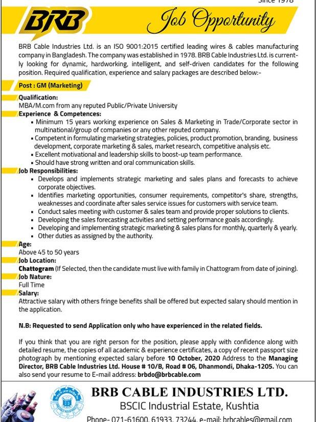 BRB Cables Job Circular 2020