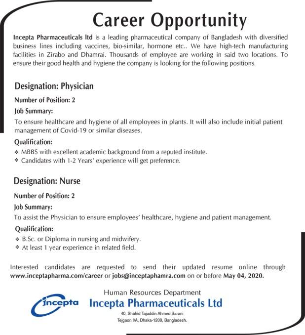 Incepta Pharmaceuticals Job Circular 2020