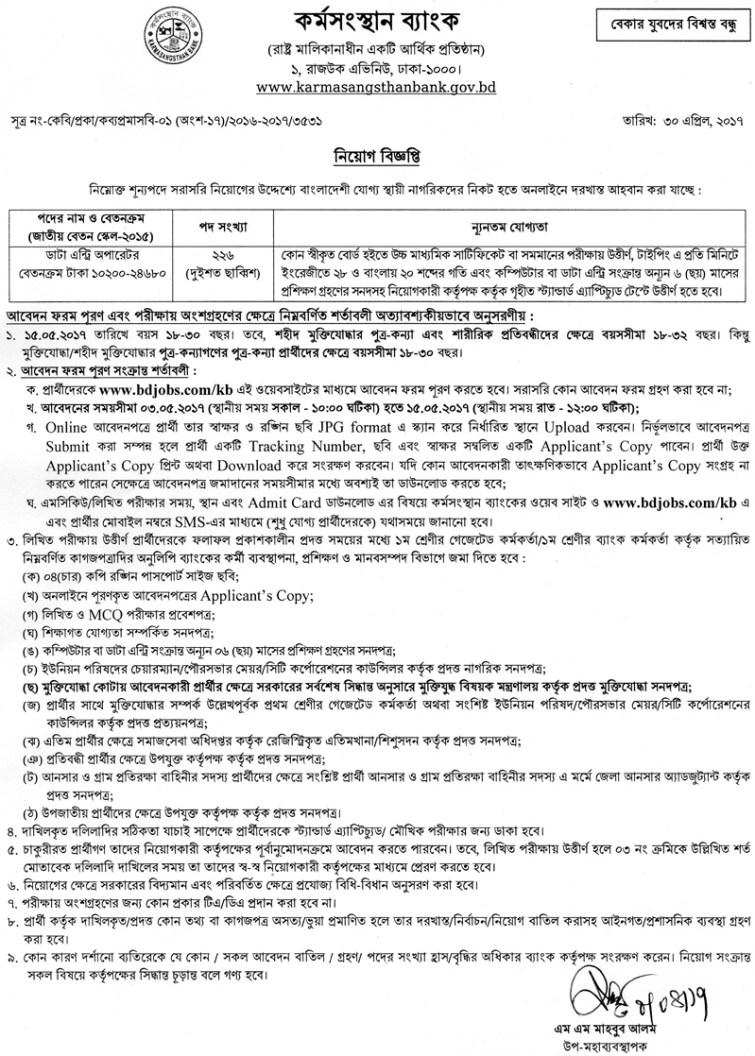 Karmasangsthan Bank Job Circular 2017