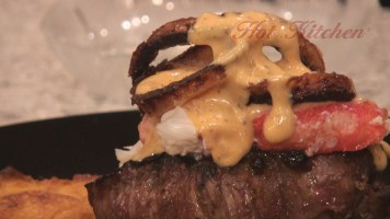 Hot Kitchen Steak Oscar, Blushing Steak with Crab recipe demonstration
