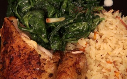 Hot Kitchen Red Chicken, Lightly Creamed Spinach, Saffron Rice Pilaf Recipe Demonstration