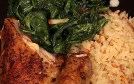Hot Kitchen Red Chicken, Lightly Creamed Spinach, Saffron Rice Pilaf Recipe Demonstration