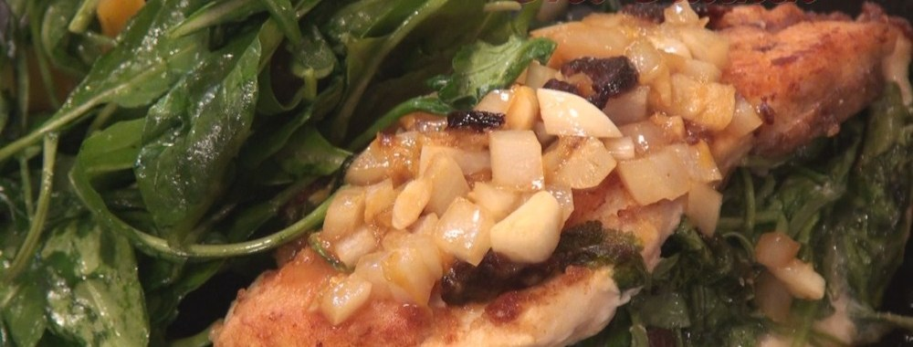 Hot Kitchen Lemon Chicken with Arugula Stuffing Recipe Demonstration