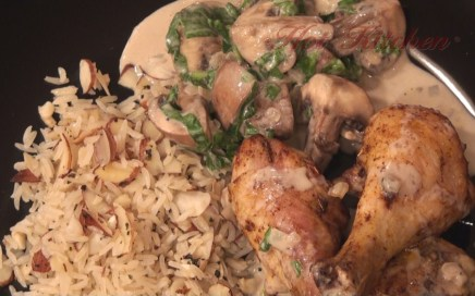 Hot Kitchen Roast Chicken with Sherried Mushrooms, Butter and Almond Rice Pilaf Recipe Demonstration