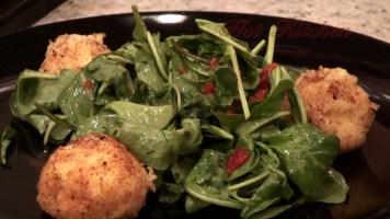 Hot Kitchen Arugula Salad, Roasted Garlic Polenta Croquettes, Recipe Demonstration
