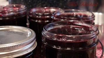 Filling the jars, hot kitchen jam recipe