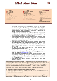 Cookbook screenshot showing recipe for the Black Forest Tower cake