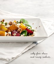 Roasted Beet Pear Walnut Salad