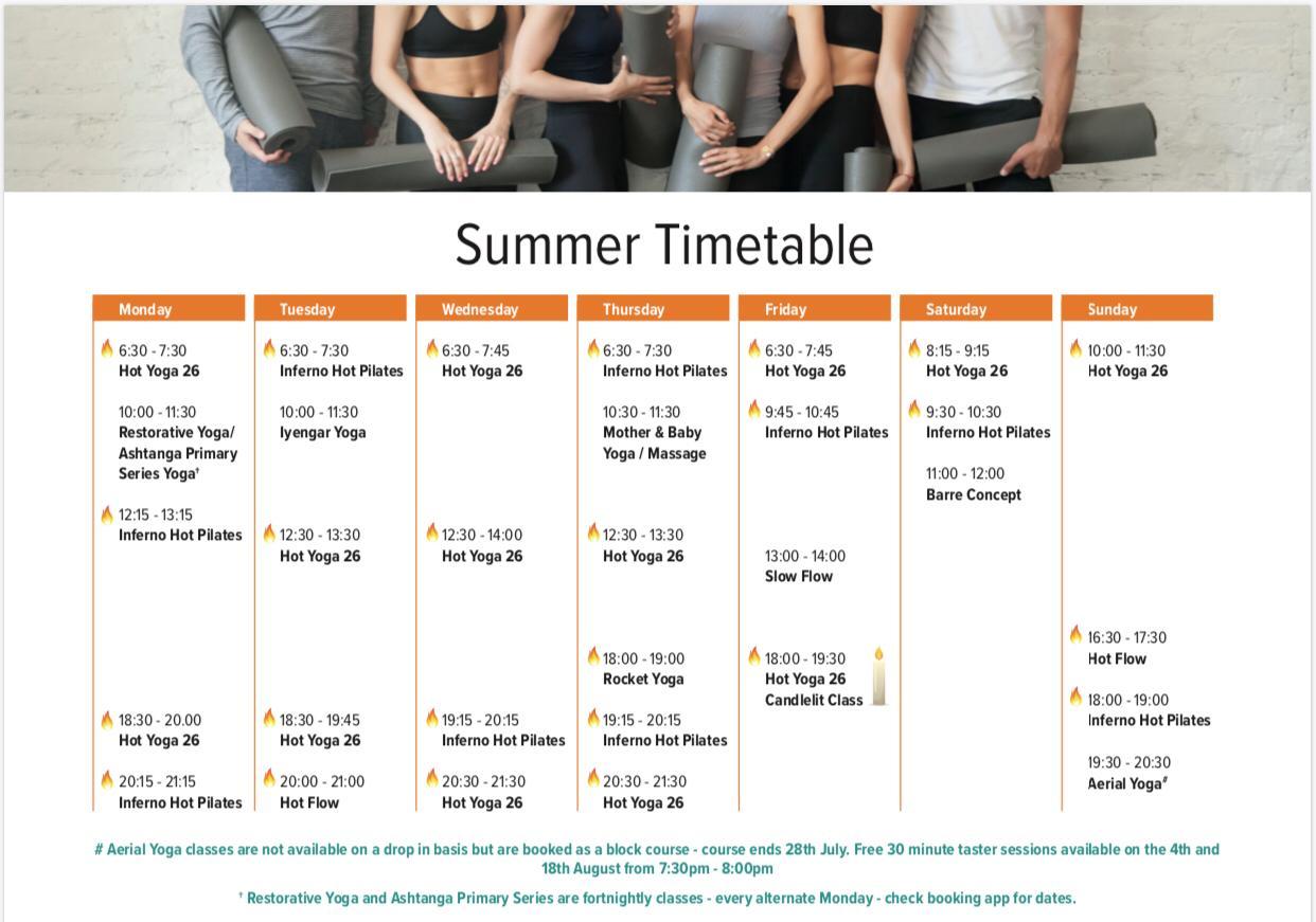hot lotus summer timetable