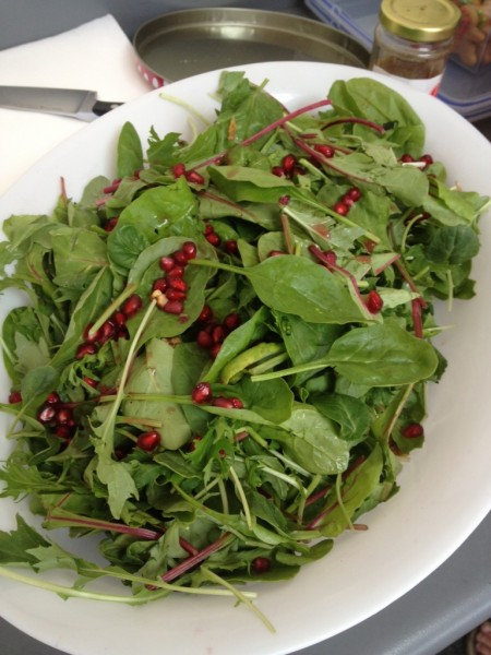 Christmas Day leftovers for Boxing Day - Spinach and Rocket Salad with Pomegranates