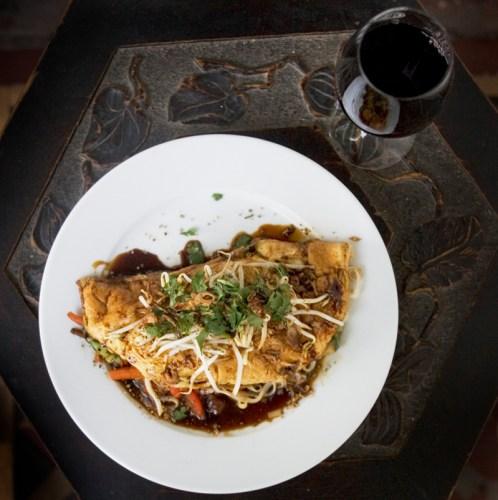 Thai-style omelette, gluten-free and vegetarian