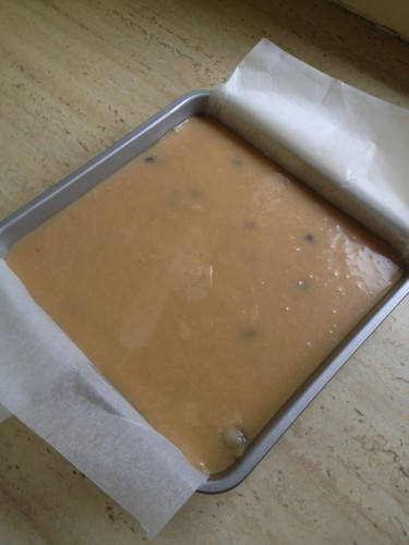 Poured into the tin and ready to sit in the fridge