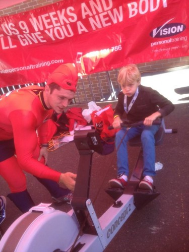 Trying the rowing machines