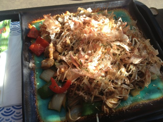 Carl's chicken, noodle and fish dish - 'amazing'