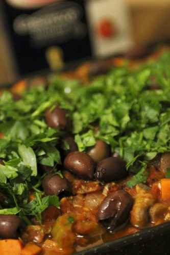 Chicken Cacciatore sprinkled with olives and home-grown parsley