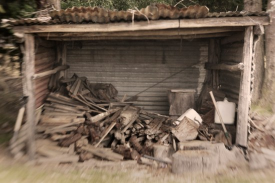 A wood stack outside a shed