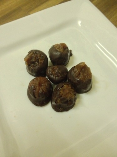 Celia's Drambuie soaked figs in dark tempered chocolate