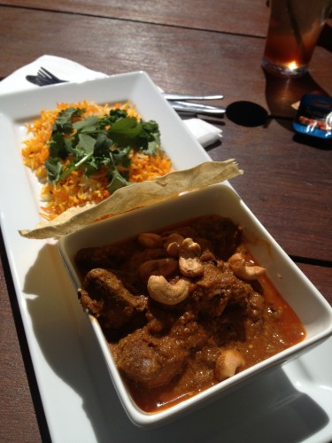 Rogan Josh curry with cashews, wilted coriander and one (singular) pappadum $24.00