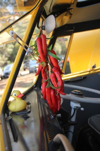 A few heated chillies hanging from the combi