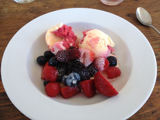 Raspberry Ripple with berry salad and fresh cream.