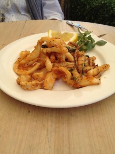 Salt and pepper calamari and zucchini with roast pepper and saffron aioli $19.00
