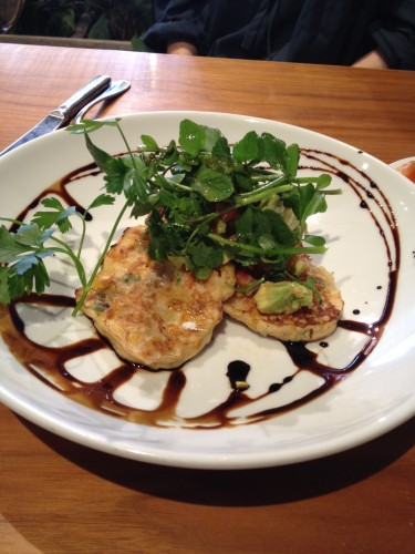 Sweet Corn Fritters, watercress salad and chilli balsamic reduction $14.50