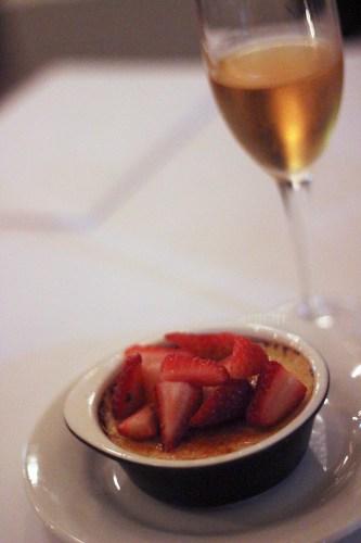 Creme brulee with mastic, vanilla and fresh strawberries