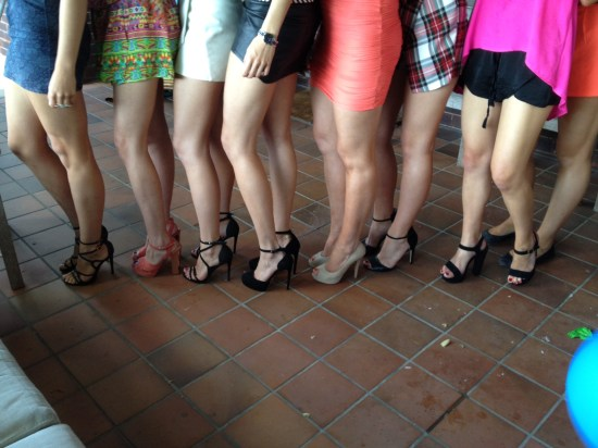 High heels and short skirts are the dress code