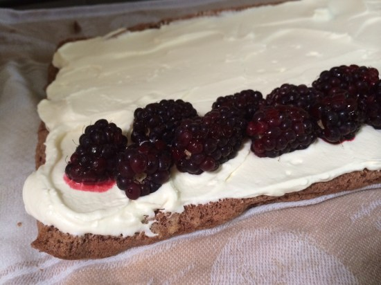 A chocolate roll filled with cream and boysenberries