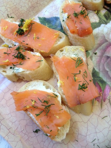 Smoked salmon and cream cheese on baguettes