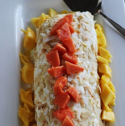 Filled with vanilla cream, papaya and mango