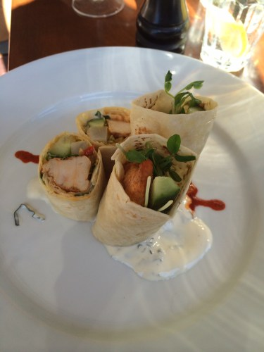 Tandoori wrap with pickled daikon, cucumber and minted yoghurt dressing $12.50
