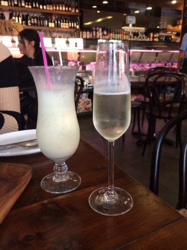 Passionfruit and mint smoothie $6.00.  Glass of Prosecco $12.00.