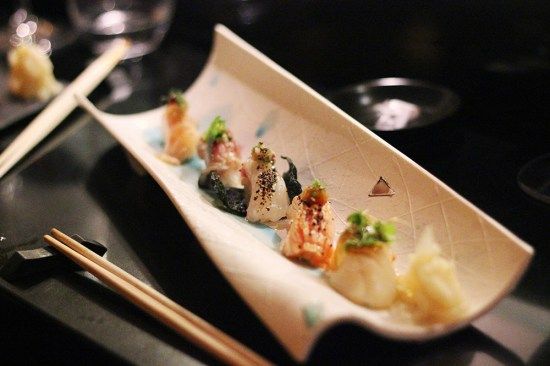 Sashimi:  Deep water snapper, mackerel, tai ceviche sushi, salmon belly and scallop