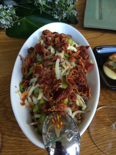 Calamari and asparagus salad with pan fried prosciutto di parma