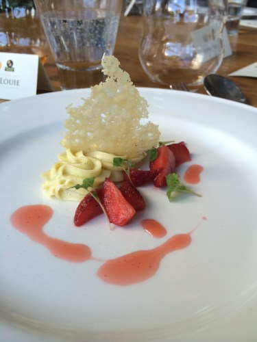 Olive oil mousse with crispy parmigiano reggiano and marinated strawberries