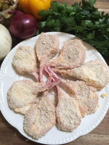 Lamb cutlets with a parmesan crumb