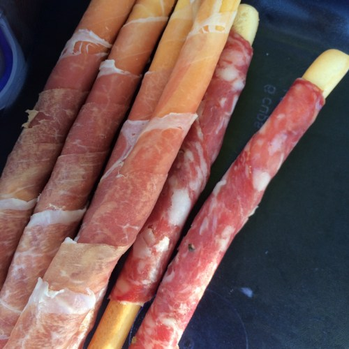 Prosciutto and salami wrapped in crostini