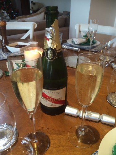 Starting the evening with a glass of champagne