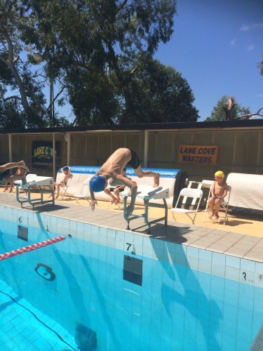 Diving in to swim breaststroke