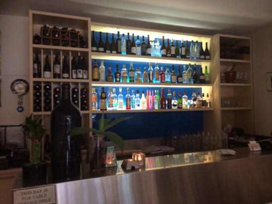 A 'Grecian Blue' backlit bar